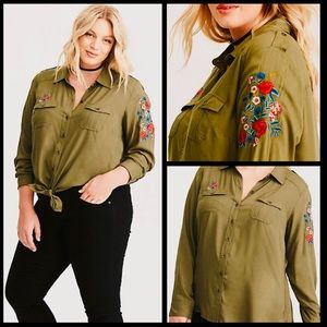 Torrid floral embroidered twill military top EUC